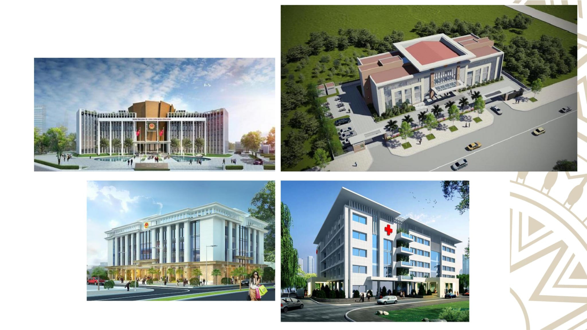 Hệ thống tiện ích: bệnh viện, trường học, ngân hàng, ủy ban