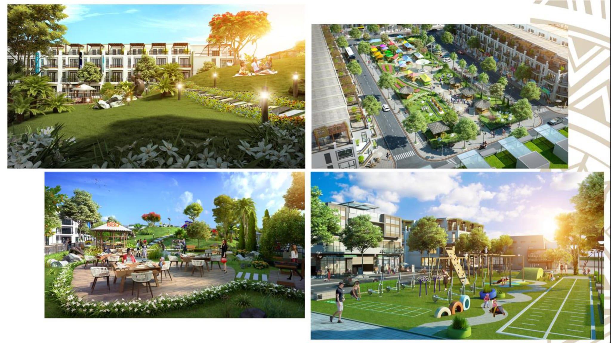 Quảng trường lớn, công viên cây xanh, phố đi bộ,